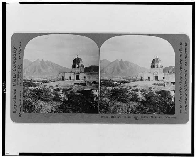 Bishop's palace and Saddle mountain, Monterey [sic], Mexico