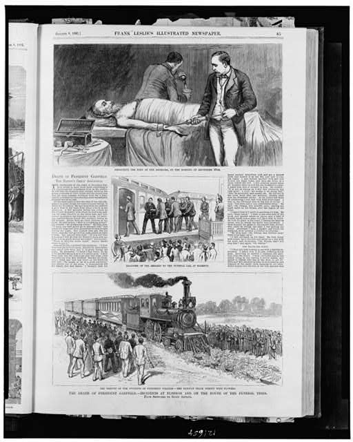 The death of President Garfield - incidents at Elberon and on the route of the funeral train