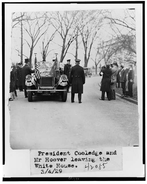 President Coolidge and Mr. Hoover leaving the White House