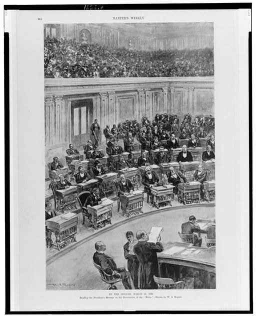 "In the Senate, March 25, 1898--Reading the President's message on the destruction of the ""Maine"""