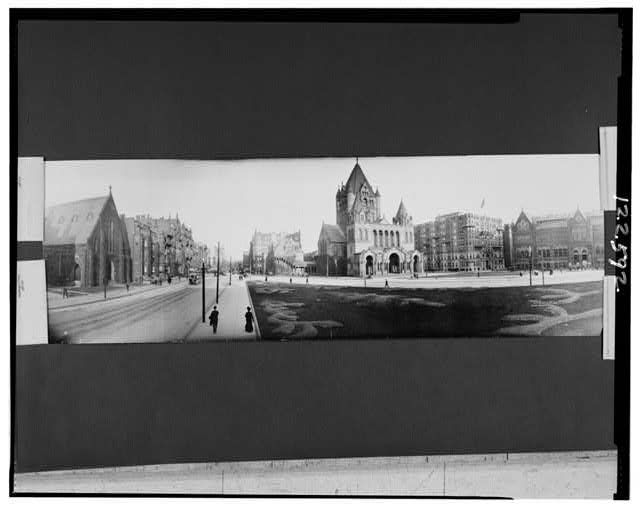 [Panoramic photo showing Trinity Church, Hotel Westminster, east end of the Museum of Fine Arts, also Boylston St. looking towards city proper, Boston, Mass.]