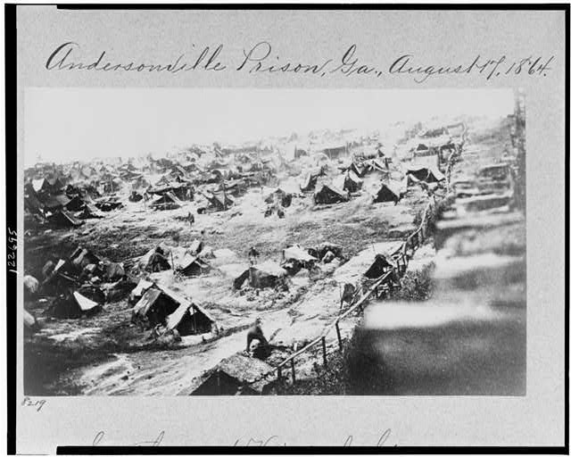 Andersonville Prison, Ga., August 17, 1864. Southwest view of stockade showing the dead-line