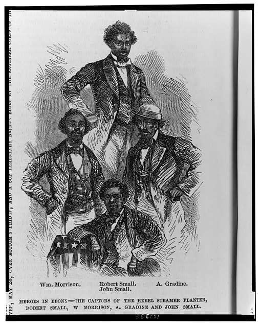 Heroes in Ebony--The captors of the Rebel steamer Planter, Robert Small, W. Morrison, A. Gradine and John Small