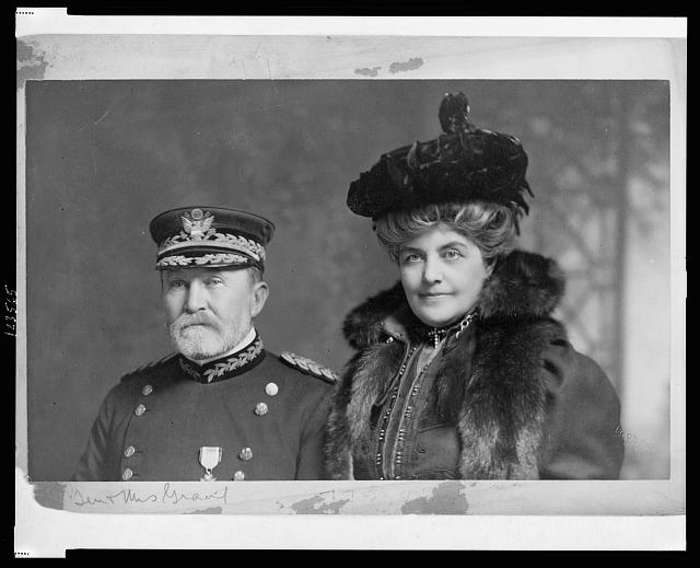 [Gen. Frederick Dent Grant, head-and-shoulders portrait, facing slightly left, in uniform, with his wife]
