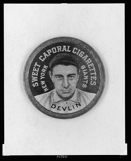 [Art Devlin, New York Giants, baseball card portrait]