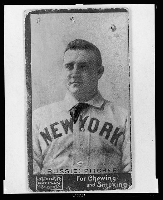[Amos Rusie, New York Giants, baseball card portrait]