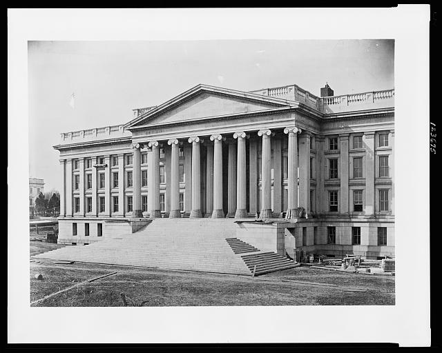 [Construction of the United States Treasury Building, Washington, D.C., showing construction of the front steps and columns]