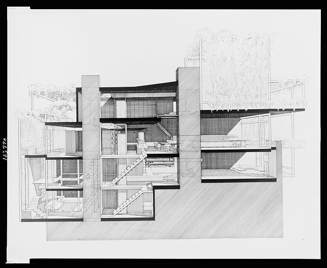 [Paul Rudolph's penthouse apartment, 23 Beekman Place, New York City. Cross section. Photograph]