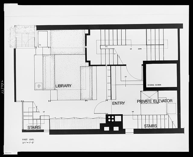 [Paul Rudolph's penthouse apartment, 23 Beekman Place, New York City. Plan, first level. Photograph]