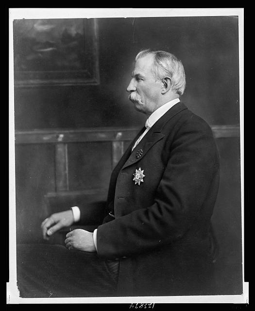 [James Daniel Richardson, half-length portrait, seated, facing left]