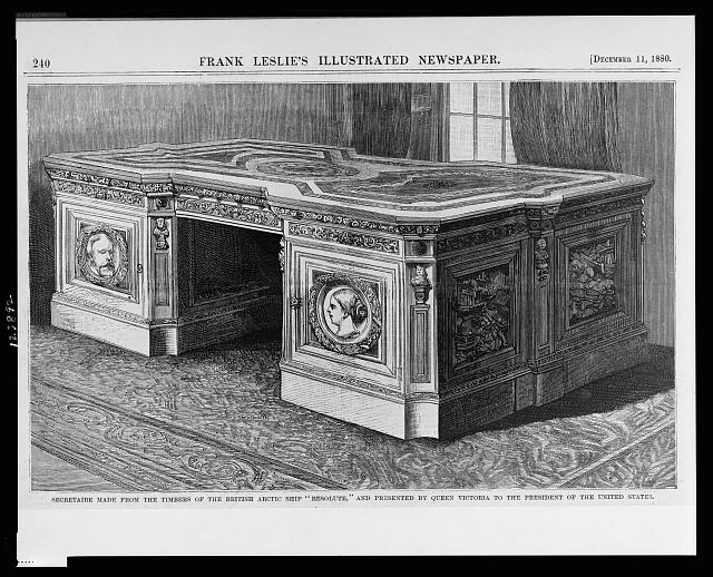"Secretaire made from the timbers of the British Arctic ship ""Resolute,"" and presented by Queen Victoria to the President of the United States"