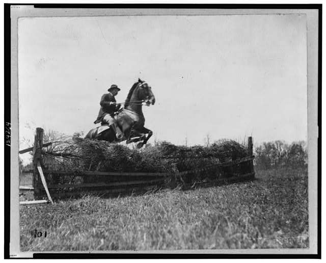 [Theodore Roosevelt, on horseback, facing right; jumping fence]