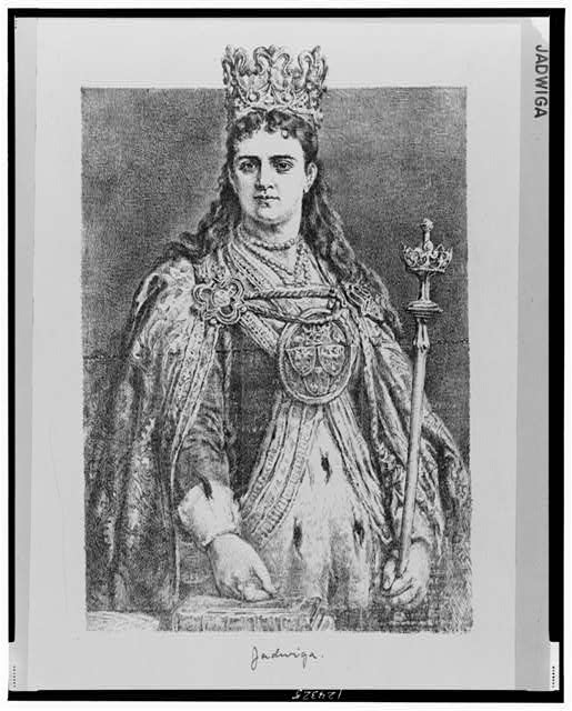 [Queen Jadwiga, half-length portrait, standing, facing front, wearing cape and crown, holding scepter]