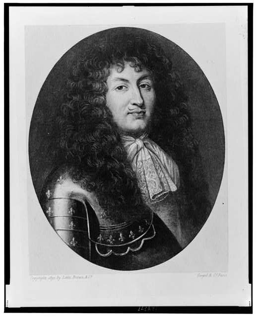 [Louis XIV, King of France, head-and-shoulders portrait, facing slightly right, wearing armor]