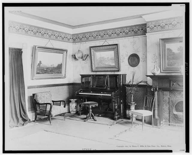 Style 17 - upright piano-forte designed and manufactured by Henry F. Miller & Sons Piano Co., Boston, Mass., U.S.A.