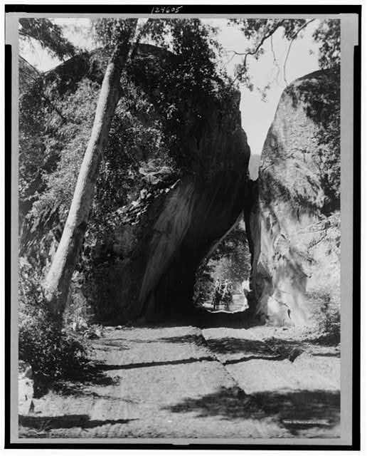 [Horse drawn carriage coming through Arch Rock, a large rock formation in the valley of Yosemite National Park]