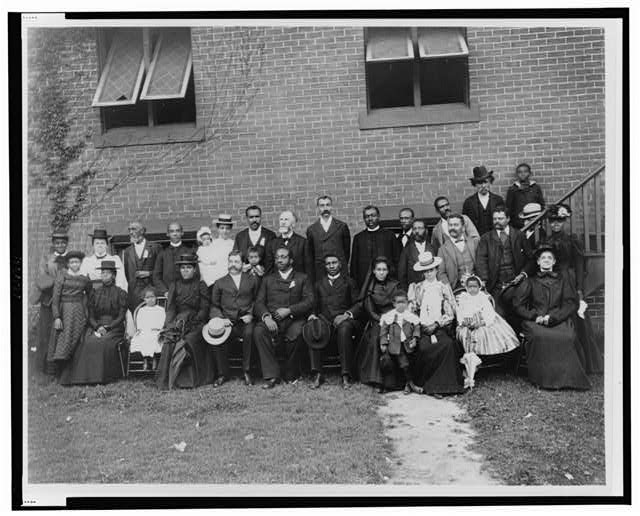 [Members of the First Congregational Church, Atlanta, Georgia, posed outside the brick church]