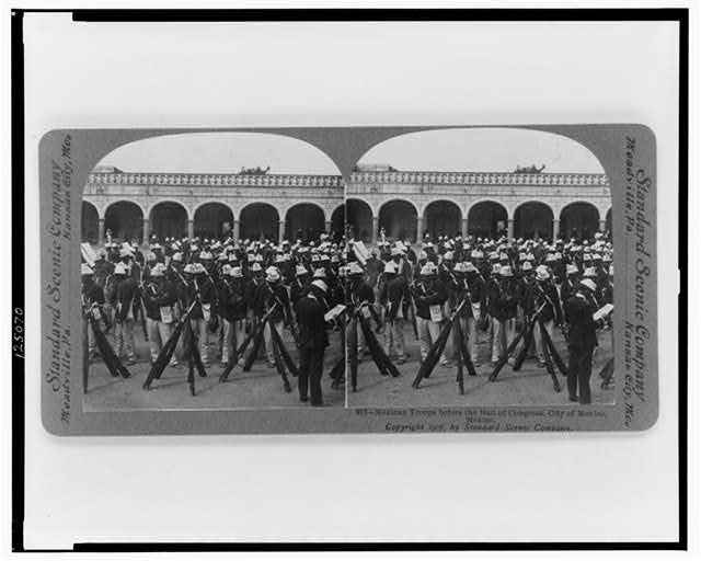Mexican troops before the Hall of Congress, City of Mexico