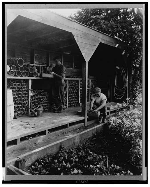 [Gardeners potting plants in a shed, posed to illustrate Rudyard Kipling's poem The Glory of the Garden]