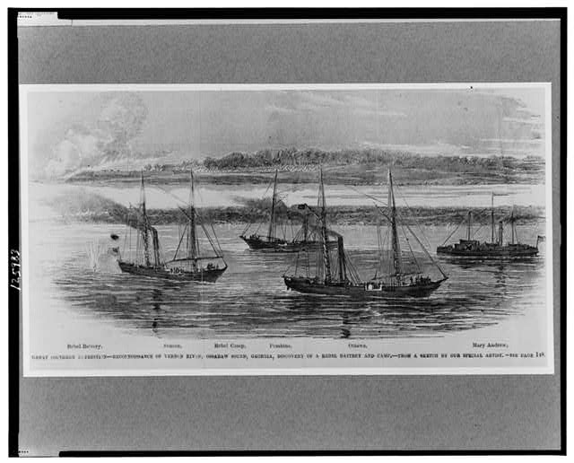 Great southern expedition--Reconnoissance [sic] on Vernon River, Ossabaw Sound, Georgia, discovery of a rebel battery and camp