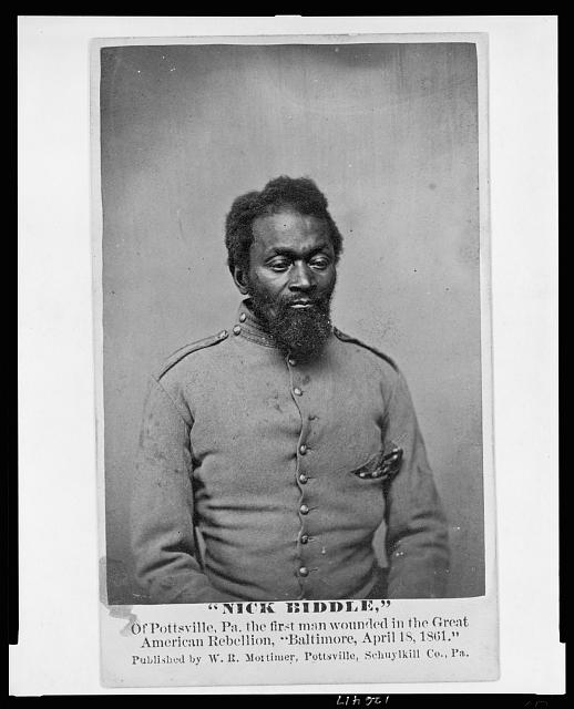 """Nick Biddle,"" of Pottsville, Pa., the first man wounded in the great American Rebellion, ""Baltimore, April 18, 1861"""