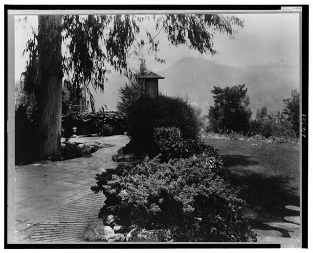 [Lawn with pathway and shrubbery, Mr. Gamble&#39;s home, Pasadena, California]