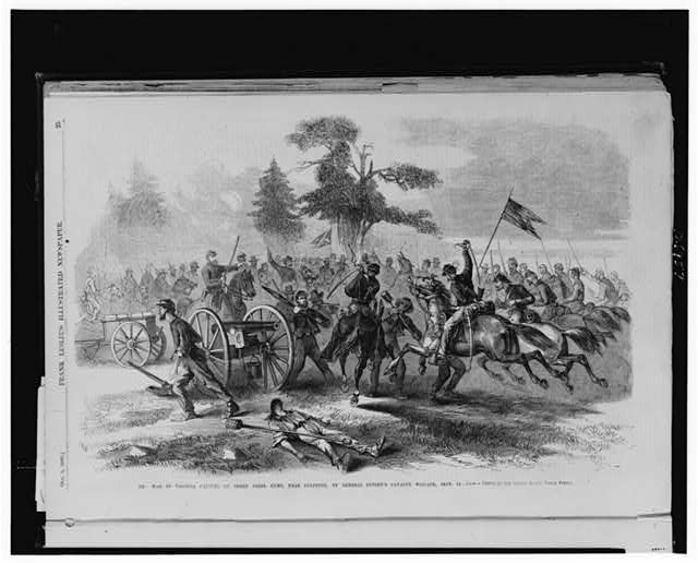 The war in Virginia--Capture of three Rebel guns, near Culpeper, by General Custen's cavalry brigade, Sept. 14