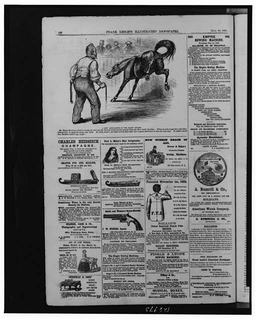 "[Full page of advertisements and cartoon, ""A new application of the Rarey System"", showing James Buchanan holding strap ""coercion"" and kicking horse ""Miss South Carolina""]"