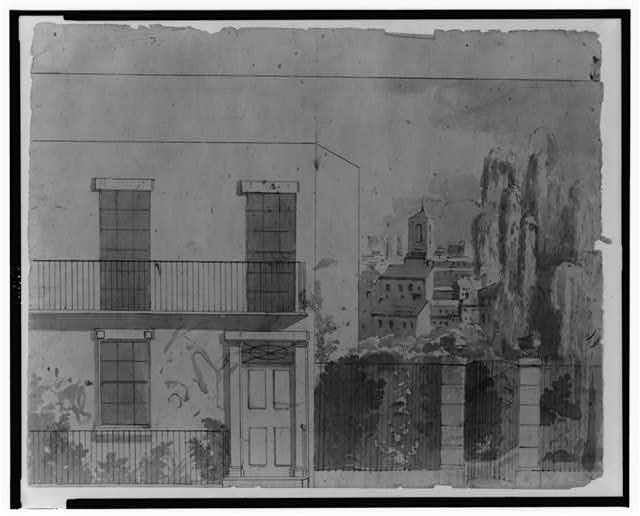 [View of an American city, perhaps not Charleston, South Carolina, showing a home with wrought iron fence, stone gate, and weeping willow in the foreground, looking toward roofs and steeple in the city]