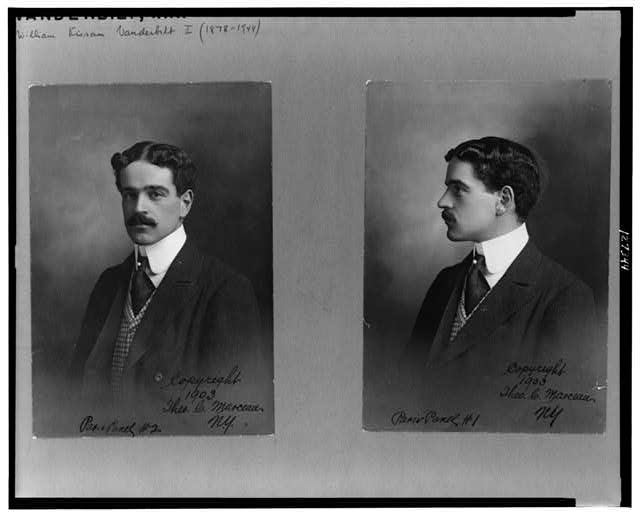 [Two head-and-shoulders portraits of William Kissam Vanderbilt, facing slightly left and facing left]