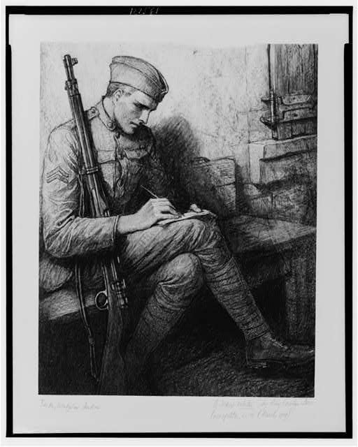 [Soldier writing letter]