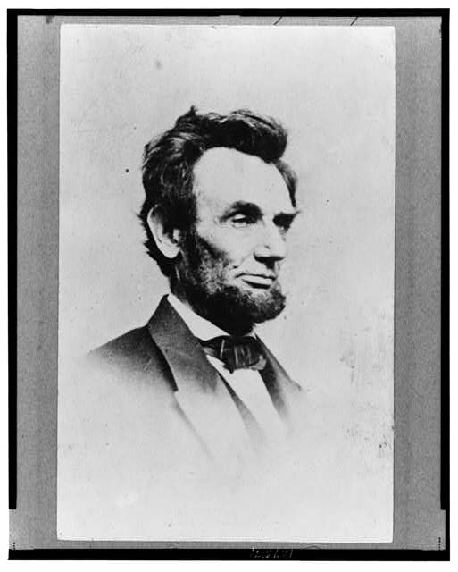 [Abraham Lincoln, head-and-shoulders portrait, facing right]