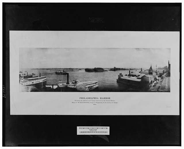 Philadelphia Harbor showing the islands now being removed by the United States. Major C. W. Raymond, Corps of Engineers, U.S. Army, in charge, 1891
