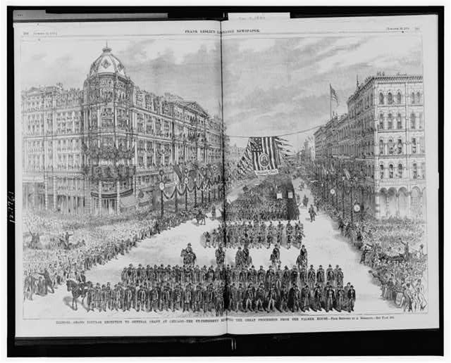 Illinois--Grand popular reception to General Grant at Chicago--The ex-president reviewing the great procession from the Palmer House
