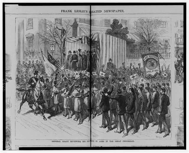 General Grant reviewing his old comrades in arms in the great procession