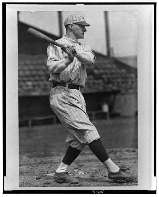 [Robert William Meusel, New York Yankees outfielder, full-length portrait, facing right, swinging baseball bat]
