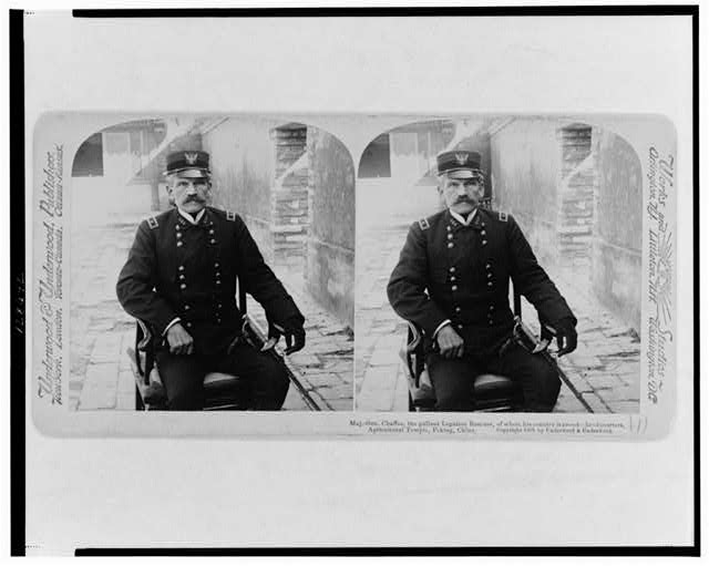 Maj.-Gen. Chaffee, the gallant Legation rescuer, of whom his country is proud - headquarters, Agricultural Temple, Peking, China