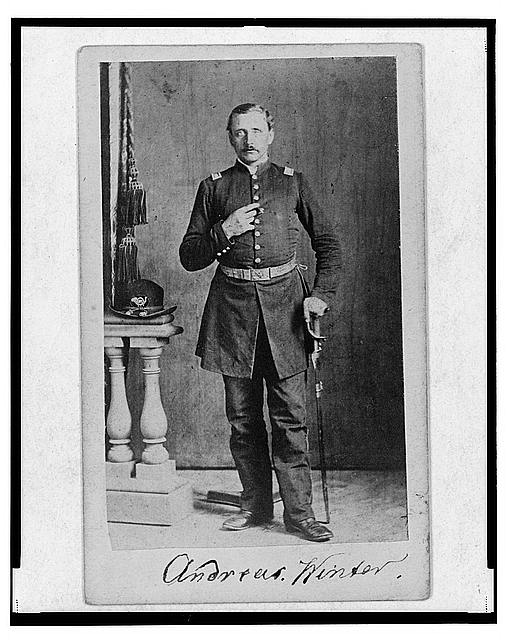 [Captain Andreas Winter, Union officer in the 32nd Indiana Regiment, full-length portrait, standing, facing front]