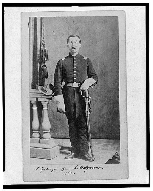 [Captain Isidore Esslinger, Union officer in the 32nd Indiana  Regiment, full-length portrait, standing, facing front]