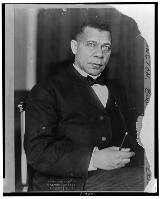 [Booker T. Washington, three-quarter length portrait, seated, facing slightly right with right hand in lap]
