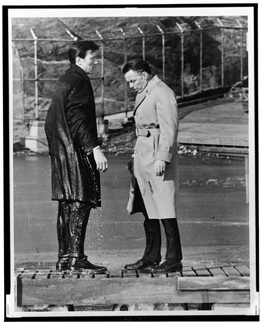 Laurence Harvey & Frank Sinatra doing a scene in Central Park, Harvey just walked off the pier