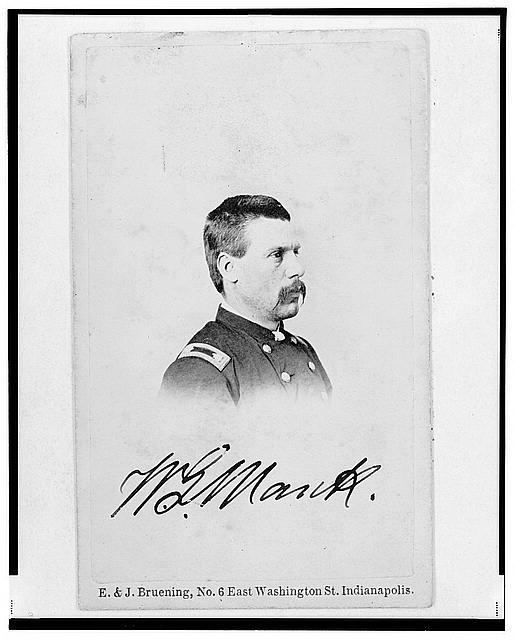 [Brigadier General William G. Mank, Union officer in the 32nd Indiana Regiment, head-and-shoulders portrait, turned right]