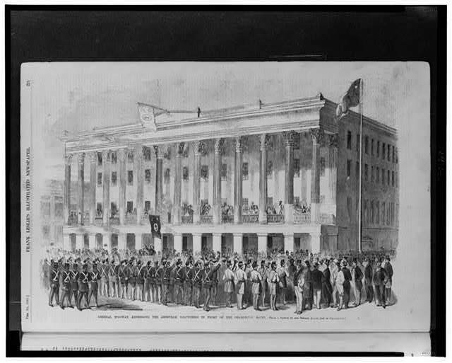 General McGowan addressing the Abbeville Volunteers in front of the Charleston Hotel
