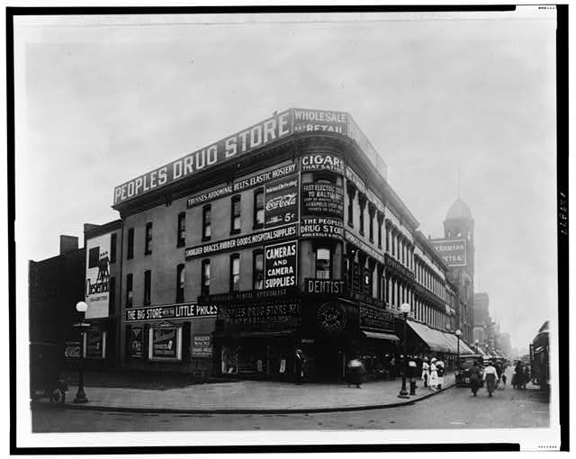 [People's Drug Store, Washington, D.C., looking south on Seventh Street, N.W., from Massachusetts Avenue]