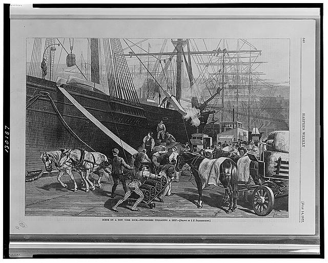 Scene on a New York dock--Stevedores unloading a ship