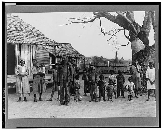 Negroes, descendants of former slaves of the Pettway Plantation. They are living under primitive conditions on the plantation. Gees Bend, Alabama