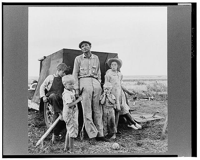 Old time professional migratory laborer camping on the outskirts of Perryton, Texas at opening of wheat harvest. With his wife and growing family, he has been on the road since marriage, thirteen years ago. Migrations include ranch land in Texas, cotton and wheat in Texas, cotton and timber in New Mexico, peas and potatoes in Idaho, wheat in Colorado, hops and apples in Yakima Valley, Washington, cotton in Arizona. He wants to buy a little place in Idaho