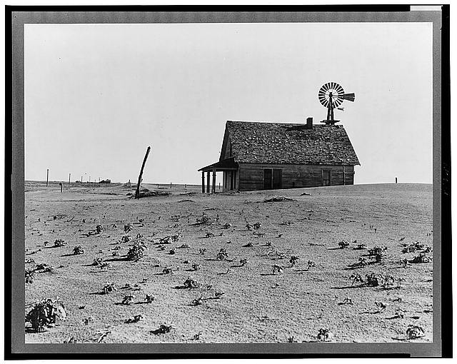 Dust Bowl farm. Coldwater District, north of Dalhart, Texas. This house is occupied; most of the houses in this district have been abandoned