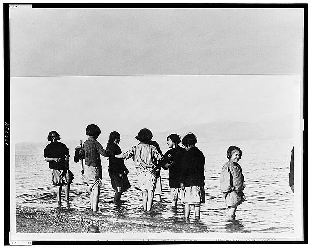 Making friends with the sea--These orphan children at Marathon, Greece, were brought from the interior of Asia Minor by the Near East Relief and never saw the sea before
