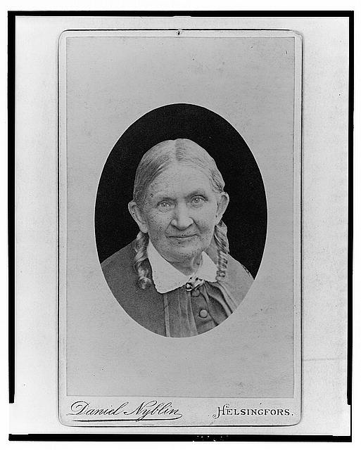 [Fredrika Runeberg, Finnish novelist/poet, head-and-shoulders portrait, facing front]